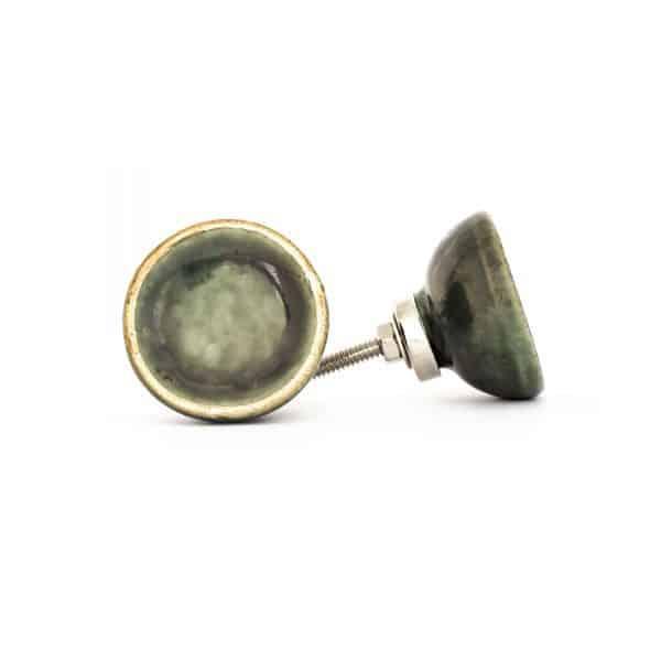 Olive Green Ceramic Disc Knob with Gold Rim