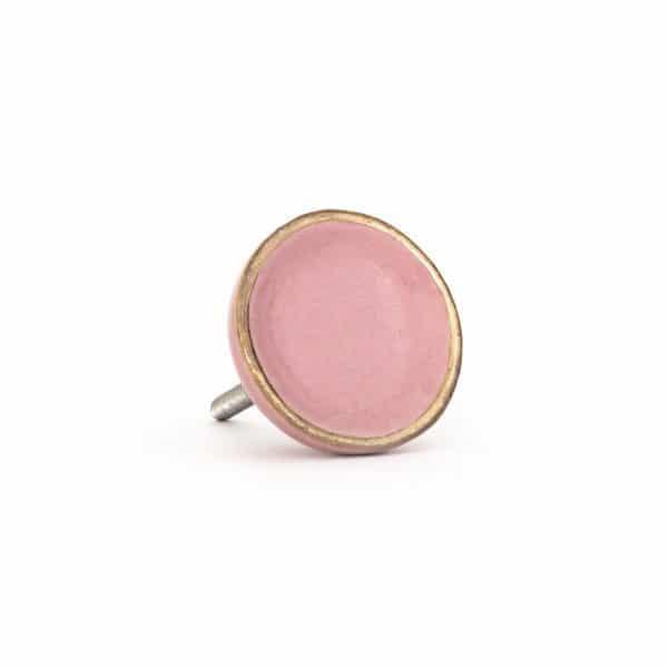 Pink Sorbet Ceramic Disc Knob with Gold Rim