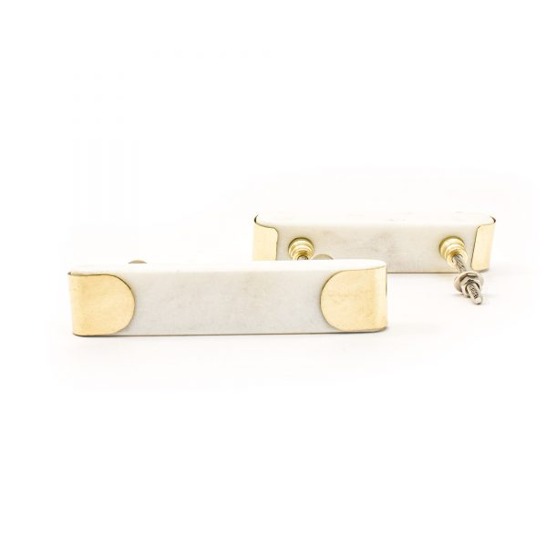 White Marble and Brass Arch Handle