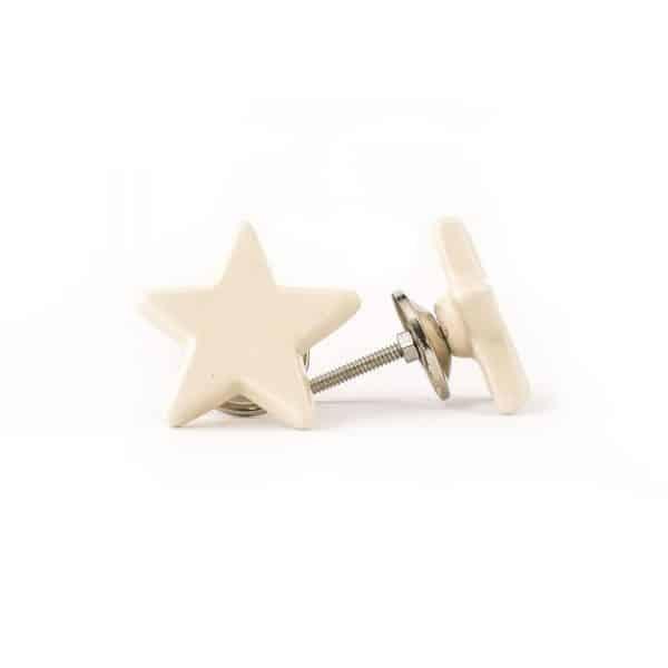 Ivory Ceramic Star Knob