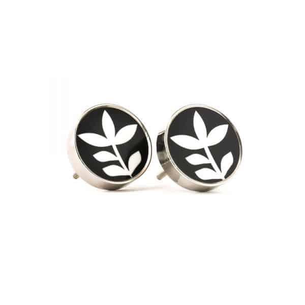 Silver Monochrome Leaf Knob