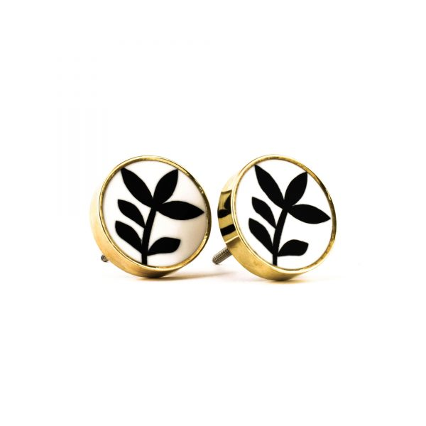 Gold Monochrome Leaf Knob