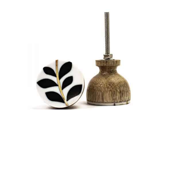 Leaf and Brass Stemmed Knob