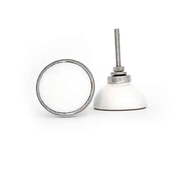 White Ceramic Disc Knob with Silver Rim