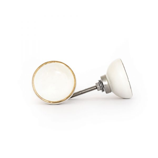 White Ceramic Disc Knob with Gold Rim