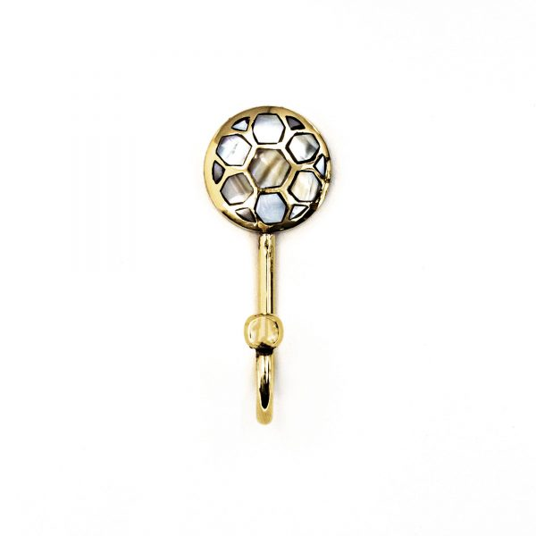 Small Gold and Pearl Honeycomb Wall Hook